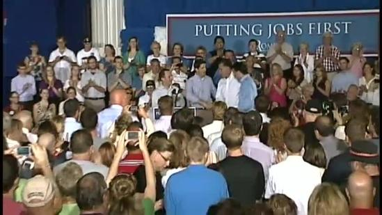 Protesters attend Mitt Romney campaign stop in Janesville