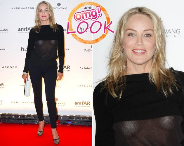 Sharon Stone legt in Paris einen waschechten Nippelblitzer hin