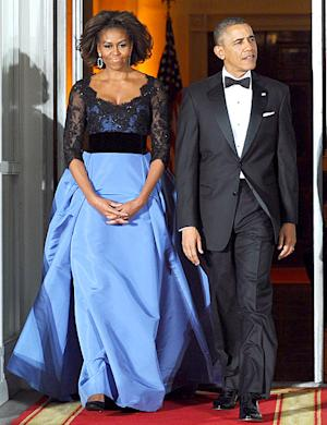 Michelle Obama Wears Gorgeous Blue Carolina Herrera Gown to State Dinner: Picture