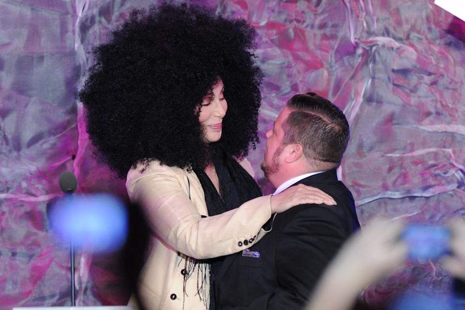 Cher greets her transgender child Chaz Bono at The 23rd Annual GLAAD Media Awards on April 21, 2012 in Los Angeles, CA. (AP Photo/Vince Bucci)