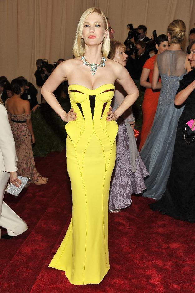 January Jones arrives at the Metropolitan Museum of Art Costume Institute gala benefit, celebrating Elsa Schiaparelli and Miuccia Prada, Monday, May 7, 2012 in New York. (AP Photo/Charles Sykes)