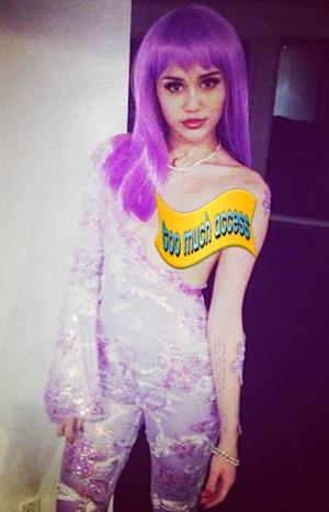 Miley Cyrus as Lil' Kim on October 30, 2013 -- Instagram