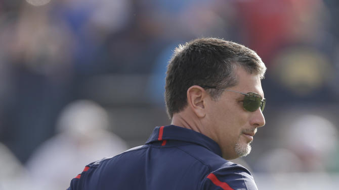 Senior Bowl South Squad head coach Jim Schwartz of the Detroit Lions watches from the sidelines in the first half of the Senior Bowl college football game at Ladd-Peebles Stadium in Mobile, Ala., Saturday, Jan. 26, 2013. (AP Photo/Dave Martin)