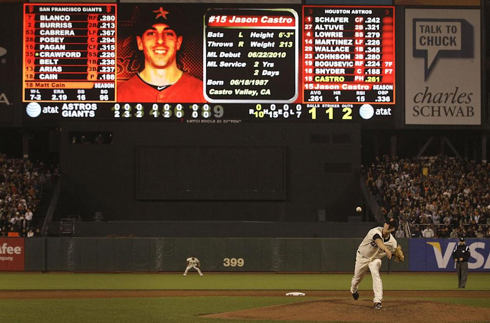 San Francisco Giants pitcher Matt Cain delivers a pitch to Houston Astros' Jason Castro during the ninth inning of a baseball game in San Francisco, Wednesday, June 13, 2012. Cain pitched a perfect game. The Giants won 10-0.  (AP Photo/Jeff Chiu)