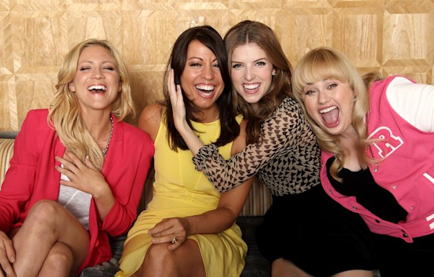 In this image taken on Friday, Sept. 21, 2012, from left, actress Brittany Snow, screenwriter Kay Cannon, actress Anna Kendrick, actress Rebel Wilson, from the film &quot;Pitch Perfect,&quot; pose for a portrait at The London Hotel, in West Hollywood, Calif. Funny women are flourishing in comedies that are produced and written by women. (Photo by Matt Sayles/Invision/AP)