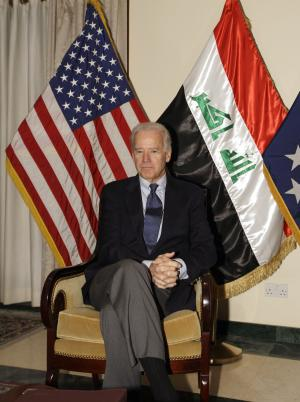 U.S. Vice President Joe Biden is seen in Baghdad, Iraq, Tuesday, Nov. 29, 2011. Biden arrived on a surprise visit to Iraq late Tuesday in a trip designed to chart a new relationship between the two countries after all American forces have left the country in just over a month. (AP Photo/Khalid Mohammed)