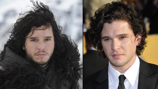 Kit Harington as Jon Snow (left) and at the Golden Globes (right) -- HBO/AFP