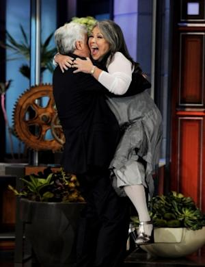"""Roseanne Barr cuts loose on """"The Tonight Show with Jay Leno"""" at the NBC Studios in Burbank, Calif. on August 4, 2011 -- Getty Premium"""