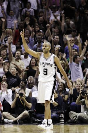 San Antonio Spurs point guard Tony Parker (9), of France, reacts against the Oklahoma City Thunder during the second half of Game 2 in their NBA basketball Western Conference finals playoff series, Tuesday, May 29, 2012, in San Antonio. (AP Photo/Eric Gay)