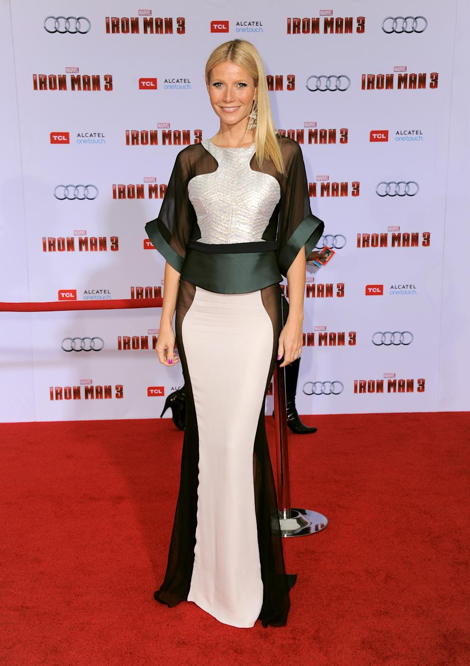 "Actress Gwyneth Paltrow arrives at the world premiere of ""Marvel's Iron Man 3"" at the El Capitan Theatre on Wednesday, April 24, 2013, in Los Angeles, Calif. (Photo by Jordan Strauss/Invision/AP)"