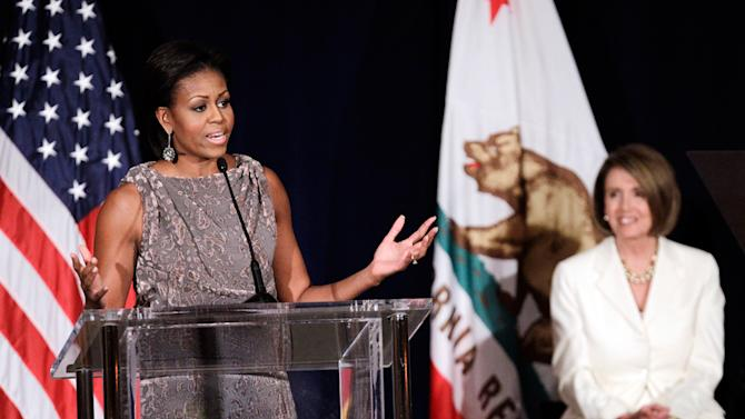 Michelle Obama speaks at a fundraiser for the Democratic Congressional Campaign Committee in San Francisco, Oct. 25, 2010.