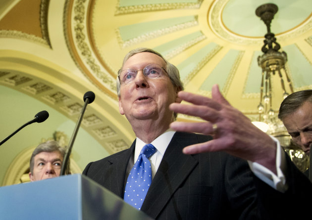FILE  In this Feb. 12, 2013, file photo Senate Republican Leader Sen. Mitch McConnell, R-Ky., talks to reporters on Capitol Hill in Washington. In Kentucky next year McConnell is gearing up for a tough re-election fight, and trying to prevent one. He&#39;s trying to head off a GOP primary challenge by cozying up to the tea party, and trying to scare off potential Democratic contenders, like actress Ashley Judd, by giving all a glimpse of his no-holds-barred political tactics. (AP Photo/Manuel Balce Ceneta, File)