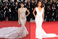 Eva Longoria in Marchesa (left) and in Emilio Pucci (right) at Cannes -- Getty Images