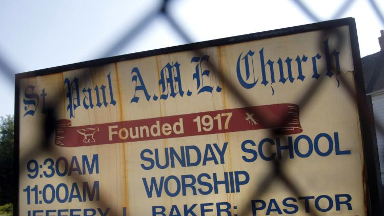 The sign for the St. Paul A.M.E. Church, one of five churches slated for demolition to make way for a new international bridge to be built, is seen in the Delray neighborhood of Detroit