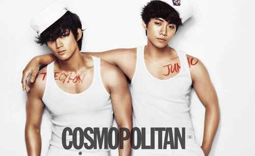2PM Junho Reveals a Kiss on His Neck with Taecyeon for 'Cosmopolitan'
