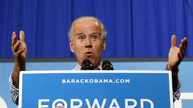 Vice President Joe Biden speaks during a campaign event in Asheville, N.C., Tuesday, Oct. 2, 2012. (AP Photo/Chuck Burton)