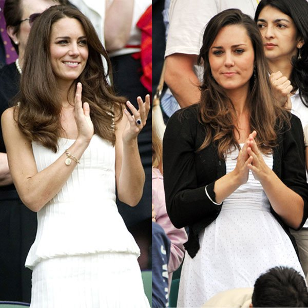 Kate Middleton at Wimbledon 2011 (left) and 2008 (right) © Rex