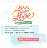 The Pros Dish: Email & Website Design Tips image modcloth referral program email 294x300
