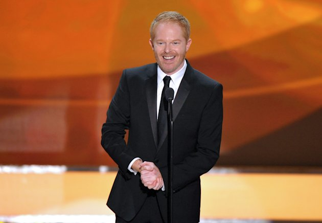 FILE - This Jan. 27, 2013 file photo shows actor Jesse Tyler Ferguson from the ABC comedy series &quot;Modern Family,&quot; on stage at the 19th Annual Screen Actors Guild Awards at the Shrine Auditorium in Los Angeles. The Public Theater announced Tuesday that the Modern Family actor will play Dromio opposite Hamish Linklaters Antipholus for five weeks at the Delacorte Theatre starting May 28. Daniel Sullivan will direct. (Photo by John Shearer/Invision/AP, file)