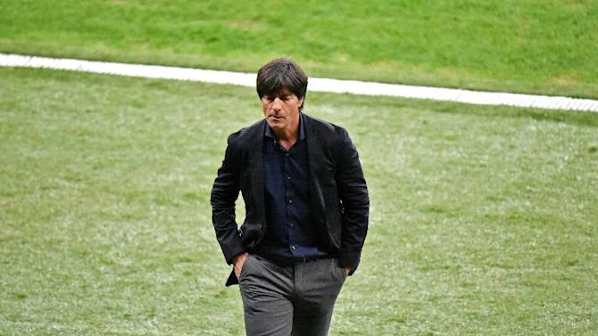 Germany's coach Joachim Loew attends the Round of 16 football match between Germany and Algeria at Beira-Rio Stadium in Porto Alegre during the 2014 FIFA World Cup on June 30, 2014