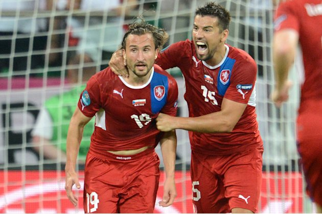 Czech Midfielder Petr Jiracek (L) Celebrates AFP/Getty Images