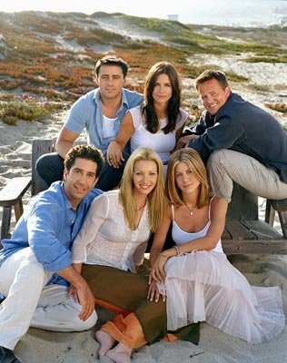 TR: Matt LeBlanc, Courteney Cox, Matthew Perry BR:David Schwimmer, Lisa Kudrow, Jennifer Aniston in NBC's Friends