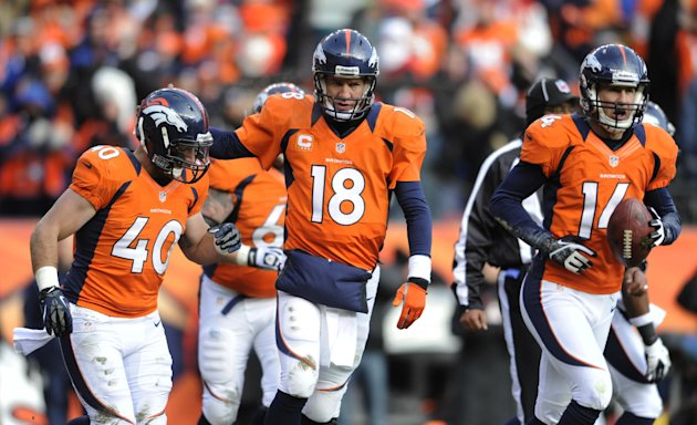 Denver Broncos quarterback Peyton Manning, center, walks off the field with Denver Broncos running back Jacob Hester  and wide receiver Brandon Stokley (14) after throwing a touchdown pass to Stokley