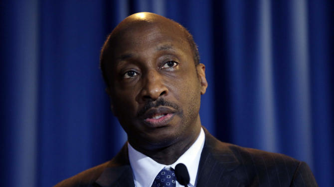 FILE - In this Friday, July 13, 2012 file photo, Merck CEO Kenneth Frazier speaks at a news conference after a meeting at Penn State University's Worthington Scranton campus in Dunmore, Pa. Frazier is convinced nearly everyone, from patients to long-term investors, wants the world's third-largest drugmaker to take big risks. One of Merck's biggest gambles is the tens of millions it's pouring into an experimental treatment for a new type of Alzheimer's drug. (AP Photo/Matt Rourke, File)