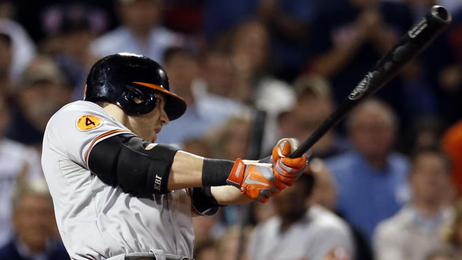 Davis' hit lifts O's past Red Sox 5-3 in 12