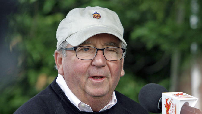 """Hall of Fame trainer Claude R. """"Shug"""" McGaughey answers questions about Kentucky Derby winner Orb at Pimlico Race Course Wednesday, May 15, 2013 in Baltimore. The Preakness Stakes horse race is Saturday. (AP Photo/Garry Jones)"""