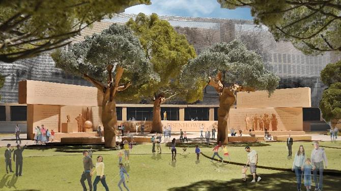 """This model image, provided by Eisenhower Memorial Commission, shows the proposed Dwight D. Eisenhower Memorial to be built in WashingtonDespite heated disagreement over the physical design of a national memorial to President Dwight D. Eisenhower in the nation's capital, a virtual memorial to accompany the monument has already been created. Organizers are launching the """"e-memorial"""" to show how multimedia features would complement Frank Gehry's design for the Eisenhower Memorial planned for a site near the National Mall. It's a mobile app filled with historic images and videos of the 34th president and World War II hero. (AP Photo/Eisenhower Memorial Commission)"""
