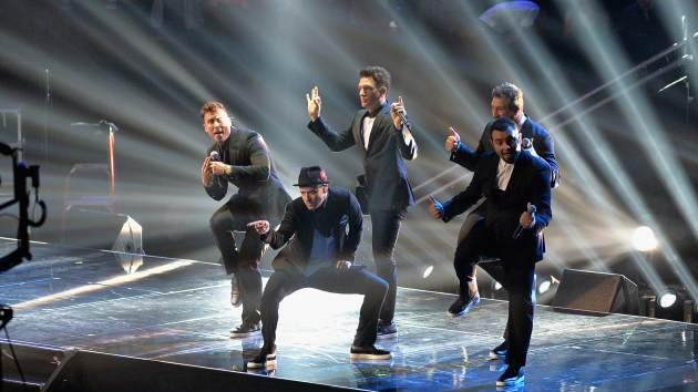 Chris Kirkpatrick, Joey Fatone, Justin Timberlake, JC Chasez and Lance Bass of *NSYNC perform during the 2013 MTV Video Music Awards -- Getty Images