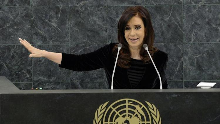 Argentina's President Cristina Fernandez addresses the 68th United Nations General Assembly at UN headquarters in New York