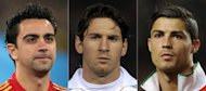 Xavi, Lionel Messi and Cristiano Ronaldo