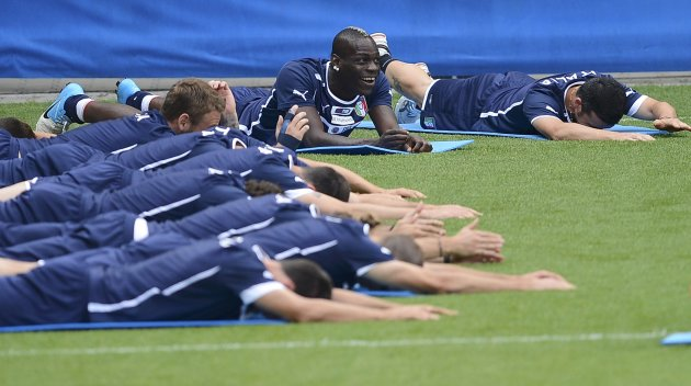 Mario Balotelli reacts during a training session during the Euro 2012. (Reuters)