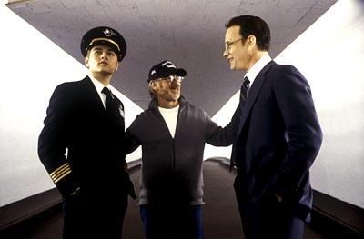 Leonardo DiCaprio , Steven Spielberg and Tom Hanks on the set of Dreamworks' Catch Me If You Can
