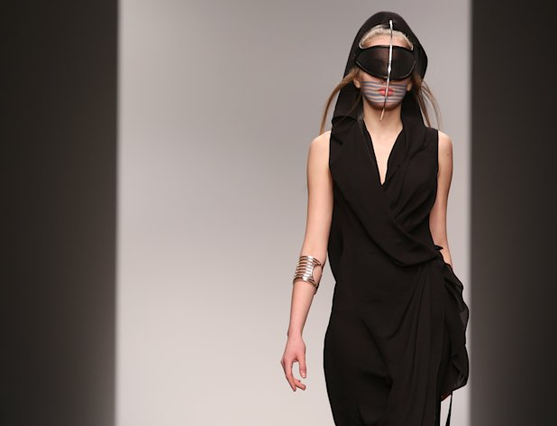 <p>               A model wears a design created by Haizhen Wang during London Fashion Week, at Somerset House in central London, Tuesday, Feb. 19, 2013. (Photo by Joel Ryan/Invision/AP)