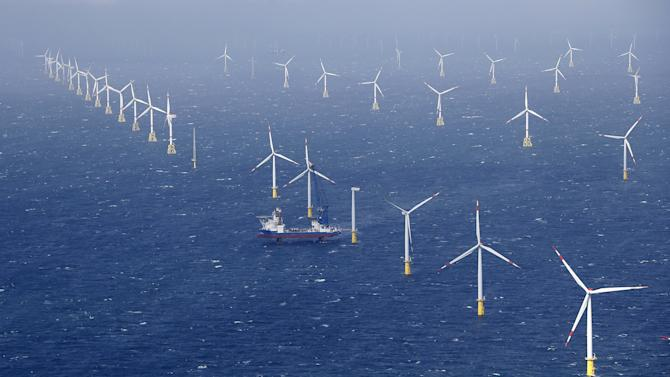Special construction vessel is pictured at 'Amrumbank West' offshore windpark in northern sea near island of Amrum