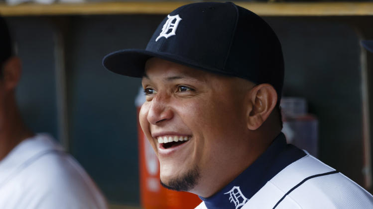 May 13, 2013; Detroit, MI, USA; Detroit Tigers third baseman Miguel Cabrera (24) sits in dugout before the game against the Houston Astros at Comerica Park. (Rick Osentoski-USA TODAY Sports)