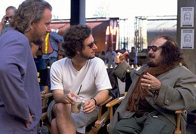 Directors/Screenwriters Larry Karaszewski and Scott Alexander with Danny DeVito on the set of Universal's comedy Screwed