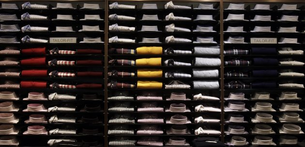 File photo of various shirts presented for sale at KaDeWe luxury department shopping store in Berlin