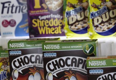 Packets of Nestle cereals are pictured at the Innovation Center of Cereal Partners Worldwide, in Orbe