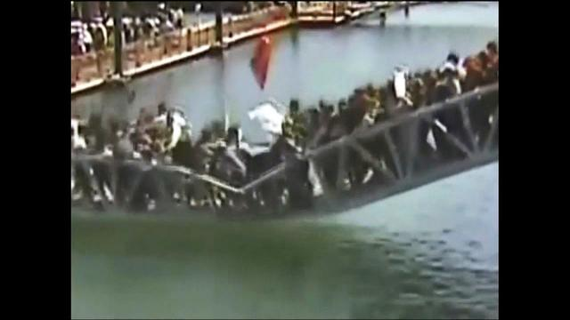 Watch: Footbridge collapses in China