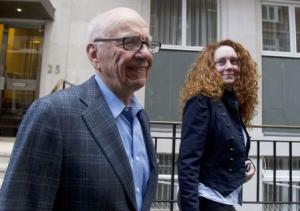 File photo of News Corporation CEO Rupert Murdoch leaving his flat with Rebekah Brooks, then Chief Executive of News International, in central London