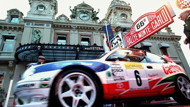 A Toyota at the start of the 66th Monte Carlo rally in Casino Square in 1998 (Reuters)