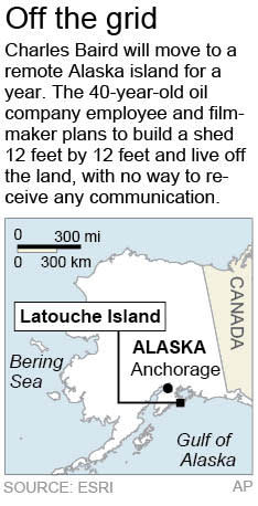 Map locates Latouche Island, Alaska, where a filmmaker will live for a year.