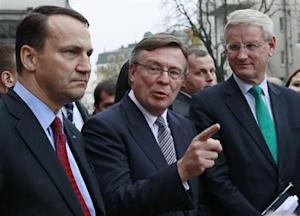 Kozhara, Sikorski and Bildt speak to the media after a meeting with Ukraine's President Yanukovich in Kiev