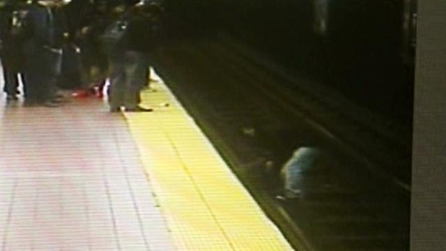 Man falls onto train tracks, rescued