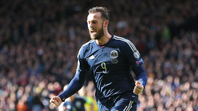 Scotland striker Steven Fletcher celebrates after scoring their second goal during the Euro 2016 qualifying match against Gibraltar at Hampden Park on March 29, 2015