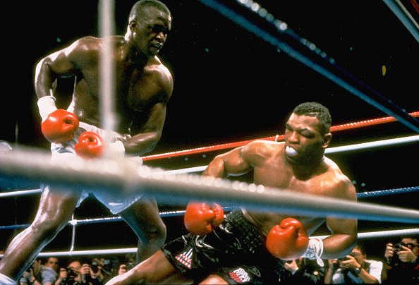 9. Buster Douglas KO10 Mike Tyson, Feb. 10, 1990 – Tyson was a 42-1 favorite to defend his IBF/WBA/WBC heavyweight titles, but he was in trouble right from the start. He had a powerful jab that